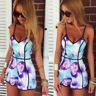 US Womens Ladies V Neck Playsuit Bodycon Summer Jumpsuit Romper Trousers Shorts