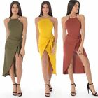 New Women's Ladies  SLEEVELESS RIBBED  WRAP TIE MAXI DRESS