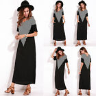 Plus Size 8-26 Women's V Neck Striped Short Sleeve Party Evening Long Maxi Dress