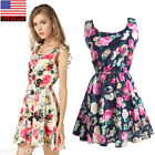 Fashion Women Summer Sleeveless Floral Chiffon Mini Dress Casual Short Sundress