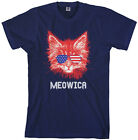 Meowica Cat Men's T-Shirt American Flag Fun July 4th Gift