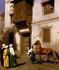 MERCHANT OF HORSES IN CAIRO ARABIAN HORSE ORIENTALISM PAINTING BY GEROME REPRO