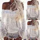 Women Summer Off Shoulder Lace Tassel Long Sleeve Top T-Shirt Solid Color Calm