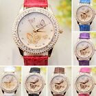New Butterfly Quartz Candy Color Band Rhinestone Wrist Lady Girl Dress Watch