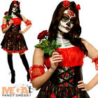 Rose Day of the Dead Ladies Halloween Fancy Dress Skeleton Womens Adults Costume