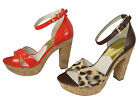 Michael Kors Womens Camilla Brown Or Orange Ankle Strap Platform Open-Toe Heels