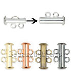 10 Multi Strand Slide Lock Tube Clasps with Loop Rings for 2 Stranded Designs