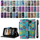For LG K3 LS450 ID Card Leather Flip Wallet Cover Pouch Case Stand + Pen