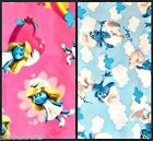 """Blue Smurfs Boy 16"""" pc  or Pink Smurfette Fabric sold by the 1/2 yard"""