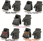 Black Leather FINGERLESS Gloves FLAMES Gel Palm Motorcycle Biker Rider Work Soft