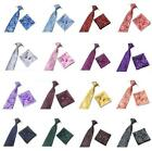 Woven Silk Necktie HandMade Mens Tie Cufflinks And Handkerchief Gift Set Hanky