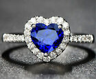 New Lady's Royal Sapphire Rhinestones Couples Silver Plated Rings Weeding Rings