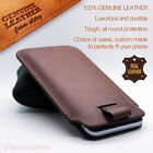 Genuine Premium Leather Luxury Pull Tab Flip Pouch Sleeve Phone Case Cover✔BROWN