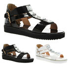 23Z WOMENS EMBELLISHED LADIES BUCKLED T BAR ANKLE STRAP SANDAL SHOES SIZE 3-8