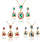 HUCHE Gold Filled Drop Dangle Sapphire Crystal Diamond Lady Earrings Necklace