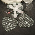 Heart Shaped Glass Coaster Favors - sets of 2 - Wedding Party Favor  30-72 Qty