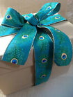 PEACOCK burlap/jute style shimmery feathers 63mm - Luxury Wire Edged Ribbon