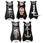 1PCS Women Skull Print Lace Patchwork Casual Sleeveless Tops Blouse Shirt US