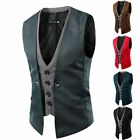 New Mens Slim Fit Formal Casual Dress Vest Suit Tuxedo Waistcoat Jacket Coat 16w