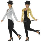 Ladies Sequin Tailcoat Jacket Gold or Silver - 80's 1980's Fancy Dress Costume