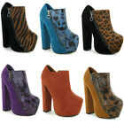 07Q LADIES FAUX SUEDE CONCEALED PLATFORM BLOCK HEEL WOMENS SHOES BOOTS SIZE 3-8