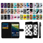 For Huawei Google Nexus 6P Ultra Slim Canvas Wallet Case Cover Credit Card + Pen