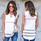 New Women Summer Casual Loose V-Neck Sleeveless Tank T-Shirt Top Blouse JYL