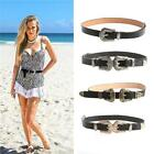 Womens Double Buckle Quality Faux Leather Thin Western Belt Ladies Waist Band LA