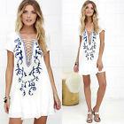 Women Summer Casual Lace Up Dresses Party Cocktail Bodycon Short Mini Dress New