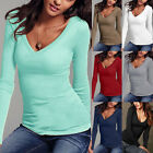 UK Womens T Shirt Casual Long Sleeve Shirt V-Neck Blouse Ladies Slim Casual Tops