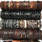 50/100 Wholesale Lot Hot Unisex Handmade Braided PU Leather Bracelet Wristband