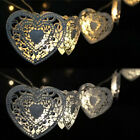 1.2 m Warm Heart String Light Metal Heart Light Curtain Lamp Party Yard Decor