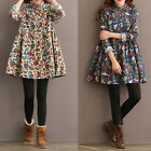 Retro Women Ladies Floral Long Sleeve Buttons Polo Neck Autumn Short Shirt Dress
