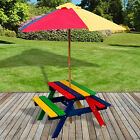 Kids Childrens Picnic Bench Table Outdoor Garden Furniture Plastic Wood Parasol