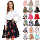 2017 New Ladies Floral Summer Skater Skirt Womens Flare Mini Skirt Dress Plus