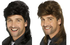 Mullet Wig Black or Brown - Mens Rocker Disco 80's 1980's Smiffy's Fancy Dress