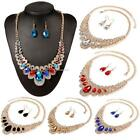 Women Bridal Wedding Jewellery Alloy Rhinestone Crystal Necklace Earrings Set
