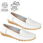 LADIES GENUINE LEATHER LOAFERS SLIP ON MOCCASIN OFFICE WORK CASUAL SHOES UK 3-8