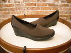 Clarks Portrait Helen Brown Stretch & Leather Wedge Shoe NEW