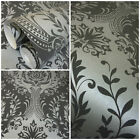 Arthouse Berkeley Damask Wallpaper - Silver Black Glitter - Feature Wall  671701