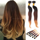 Brazilian Ombre Virigin Straight Real Remy Clip in Human Hair Extensions Weft