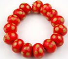 HANDMADE LAMPWORK GLASS BEADS Red Lime Polka Dot Rondelle Jewelry Making Craft