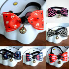 Polyester Pet Puppy Dog Cat Bow Tie Necktie Bowknot Adjustable Collars Bell New