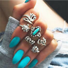 6pcs/Set Bohemian Women Elephant Turquoise Tortoise Seashell Finger Rings 3127
