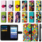 For Kyocera Hydro Wave C6740 Air Pop Art Design Canvas Wallet Case Cover + Pen