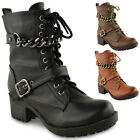 Womens Ladies Lace Up Chunky Biker Punk Military Combat Worker Ankle Boots Size