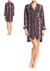 $88 Free People Retro Button Silky Night Shirt Beach Cover Dress Top Merlot  NWT