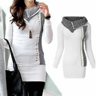 Women Long Sleeve Cowl Neck Knitted Jumper Pullover Tops Sweater Shirt Outwear