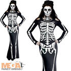 Skeleton Fancy Dress Ladies Halloween Day of the Dead Adults Womens Costume New