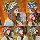 Fashion Lady Women Camo Knit Winter Warm Hats Braided Baggy Beret Beanie Caps jl